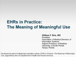 EHRs in Practice:  The Meaning of Meaningful Use