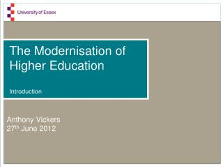 The Modernisation of Higher Education Introduction