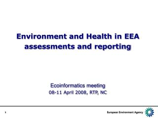 EEA work in Environment and Health
