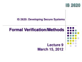 IS 2620: Developing Secure Systems