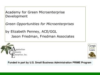 Academy for Green Microenterprise Development Green Opportunities for Microenterprises