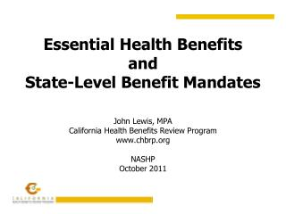 Essential Health Benefits  and State-Level Benefit Mandates