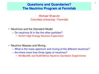 Questions and Quandaries? The Neutrino Program at Fermilab