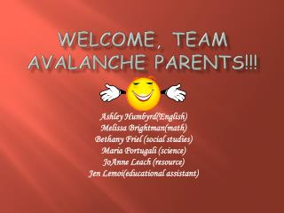 Welcome, Team Avalanche Parents!!!