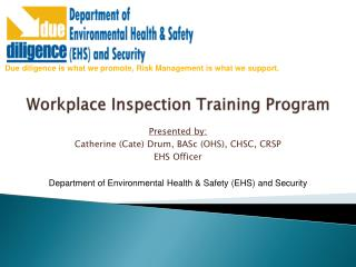 Workplace Inspection Training Program
