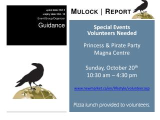 Special Events Volunteers Needed Princess & Pirate Party Magna Centre Sunday, October 20 th