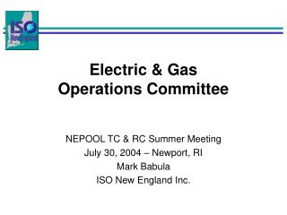 Electric & Gas Operations Committee
