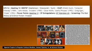 Special  Topics in Popular Culture Studies : James  Tiptree , Jr. & Science  Fiction