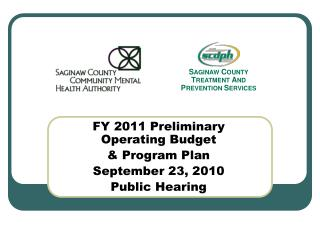 FY 2011 Preliminary Operating Budget   Program Plan September 23, 2010 Public Hearing