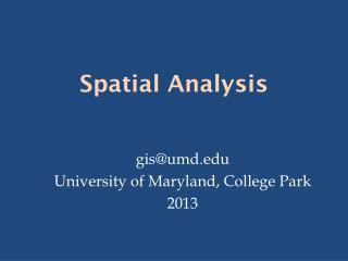Spatial Analysis