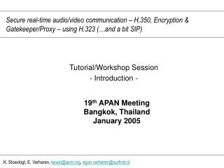 Tutorial/Workshop Session - Introduction -