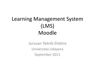 Learning Management System (LMS) Moodle