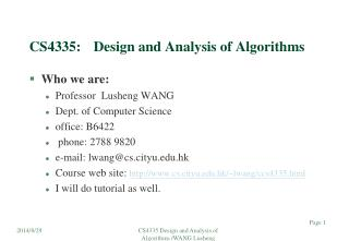 CS4335:	Design and Analysis of Algorithms