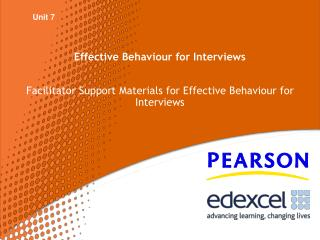 Effective Behaviour for Interviews