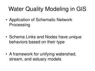 Water Quality Modeling in GIS