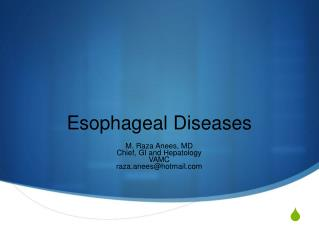 Esophageal Diseases