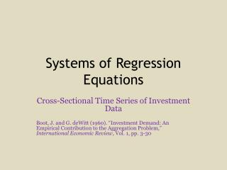 Systems of Regression Equations