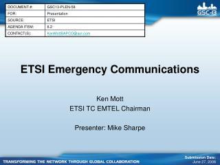 ETSI Emergency Communications