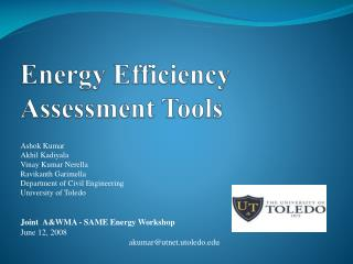 Energy Efficiency Assessment Tools