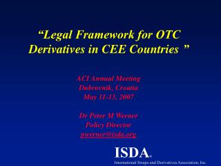 Legal Framework for OTC Derivatives in CEE Countries