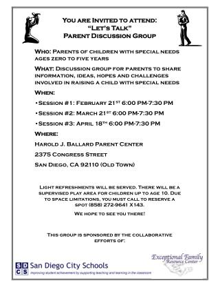 "You are Invited to attend: ""Let's Talk""                 Parent Discussion Group"