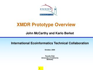 XMDR Prototype Overview