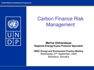 Carbon Finance Risk Management