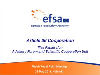Article 36 Cooperation Ilias Papatryfon Advisory Forum and Scientific Cooperation Unit