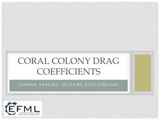 Coral colony Drag coefficients