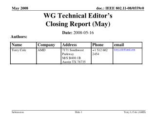 WG Technical Editor's  Closing Report (May)