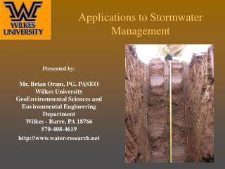 Applications to Stormwater Management