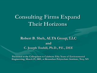 Consulting Firms Expand Their Horizons