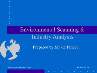Environmental Scanning & Industry Analysis