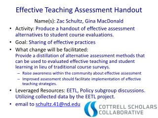 Effective Teaching Assessment Handout