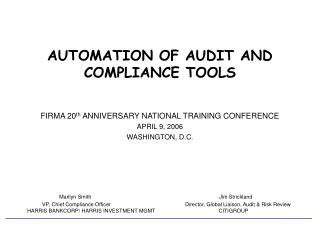 AUTOMATION OF AUDIT AND COMPLIANCE TOOLS
