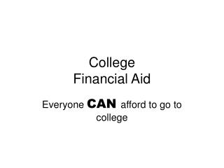 College Financial Aid