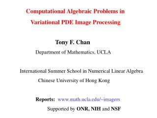 Computational  Algebraic Problems in                     Variational PDE Image Processing