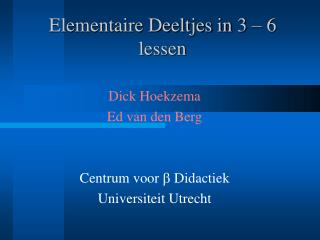 Elementaire Deeltjes in 3 – 6 lessen