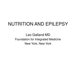 NUTRITION AND EPILEPSY