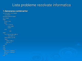 Lista probleme rezolvate informatica