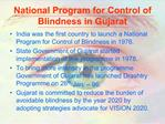 National Program for Control of Blindness in Gujarat