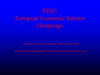EEIG European Economic Interest Groupings