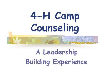 4-H Camp Counseling
