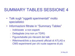SUMMARY TABLES SESSIONE 4