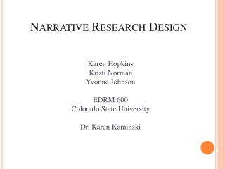 Narrative Research Design