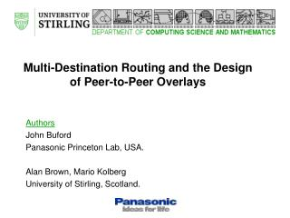 Multi-Destination Routing and the Design of Peer-to-Peer Overlays