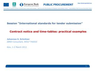 "Session ""International standards for tender submission"""