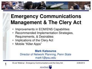 Emergency Communications Management & The Clery Act