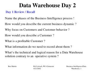 Data Warehouse Day 2