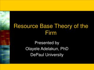 Resource Base Theory of the Firm